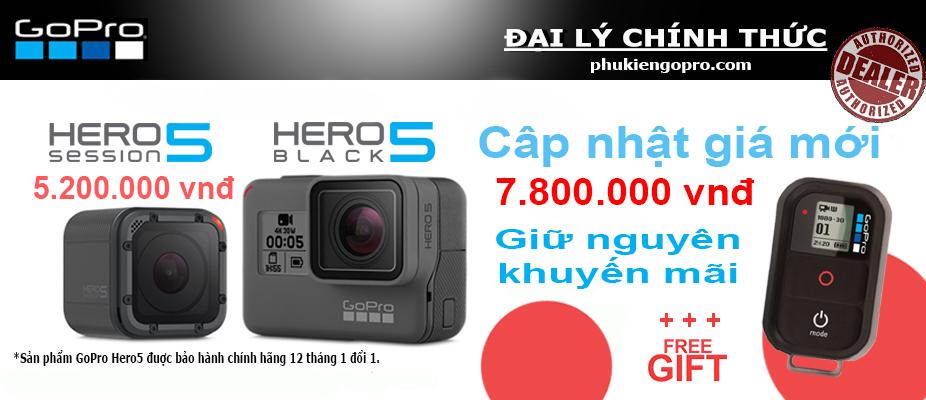 Máy quay GoPro Hero 5 Black và GoPro Herp 5 Session giảm giá trong dịp mua sắm cuối năm.